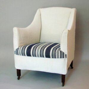 tub chair with vintage French linen