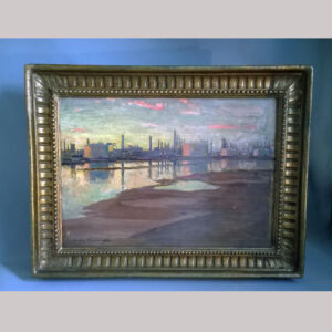 unusual oil painting of a refinery on an estuary