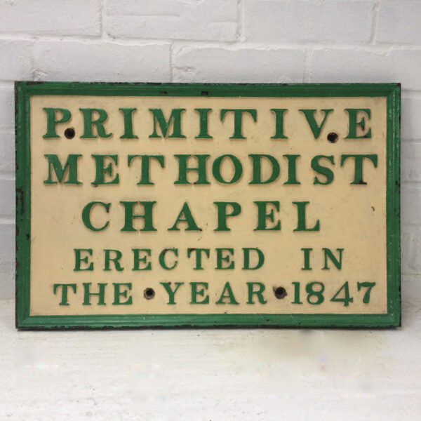 Cast Iron Sign from the Methodist Church, Cold Ash, Berkshire. Demolished 1971.