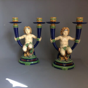 Pair of Minton majolica candlesticks. Marked for 1878. Restored.
