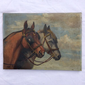 oil painting of two horses heads